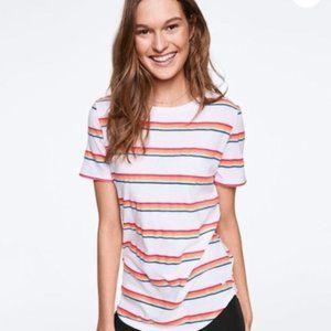 NWT VS Pink Rainbow Stripe Perfect Crew Tee